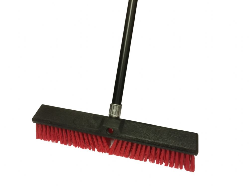 Broom 18 Plastic Red With Handle